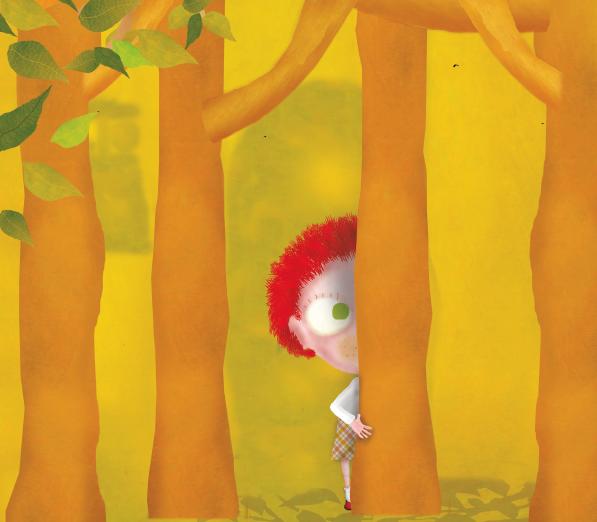 Menina se escondendo atrás da árvore. O gato da árvore dos desejos, página 44. imagem ilustrativa texto sinais de abuso infantil.