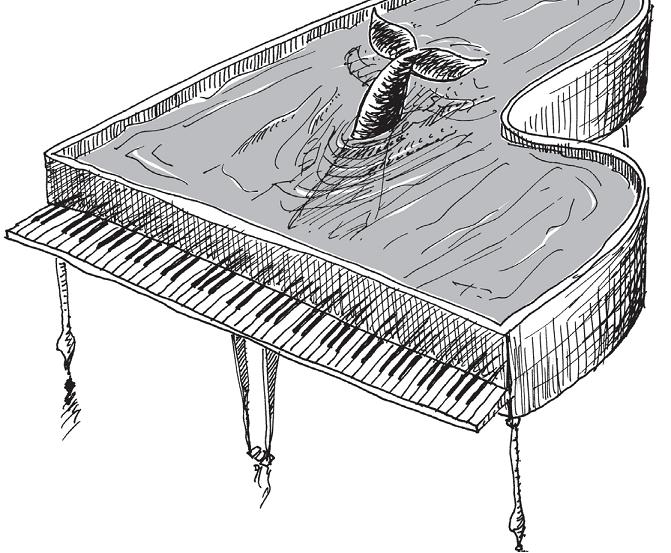 Baleia no piano de cauda. Página 96 do livro Um conto por um guaraná.