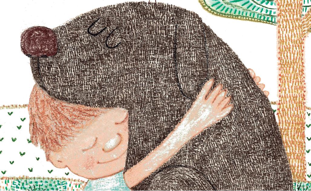 Menino abraçando cachorro, com passarinho na cabeça. Página 23 do livro Cada um no seu lugar. Imagem ilustrativa texto animal de estimação.