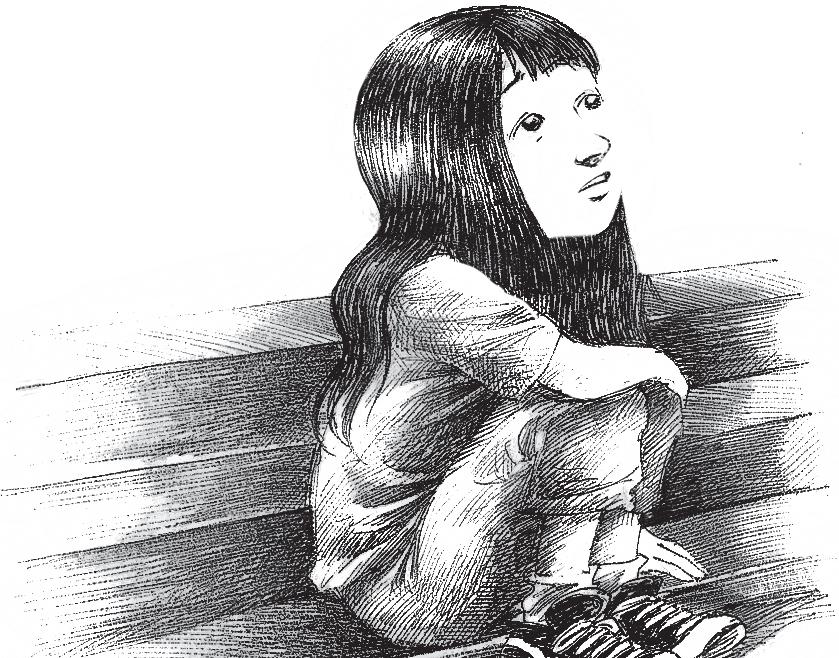 Menina assentada na escada, olhando para o céu. Página 27 do livro O avô de Margareth. Imagem ilustrativa texto morte.